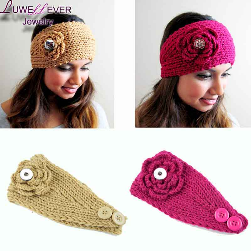 9 Colors Hot Sale Flower Snap Button Knitted Hat 18MM Charms Fashion Jewelry For Women G ...