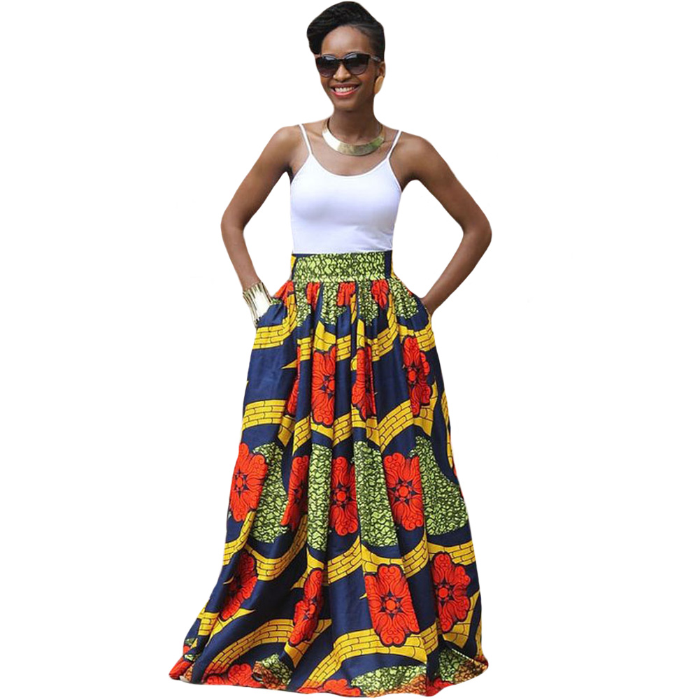 2017 Mode Femmes Africaines Imprimer Longue Jupe Ankara Dashiki Haute  taille Une Ligne Maxi Longue Parapluie
