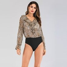 long sleeve chiffon plus size sexy leopard spring autumn one piece body mujer bodysuit women bodies ladies 2019 clothes(China)