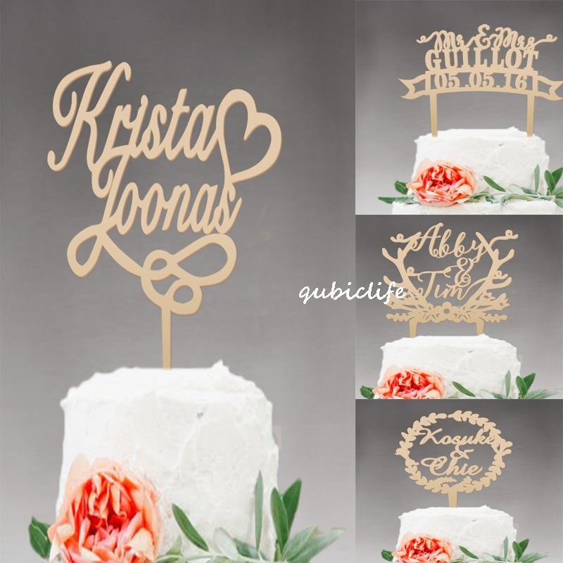Wedding cake topper personalizzato, Mr e Mrs cake topper Rustico, legno cake topper Nome, Decorazione Della Festa nuziale