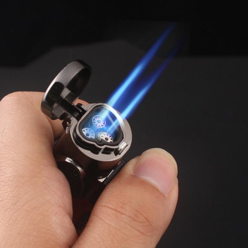 Visible gas Blue Flame Torch Turbo Lighter Spray Gun Electronic Lighter  gas Lighter 1300C Butane Cigar Cigarette Lighters Men
