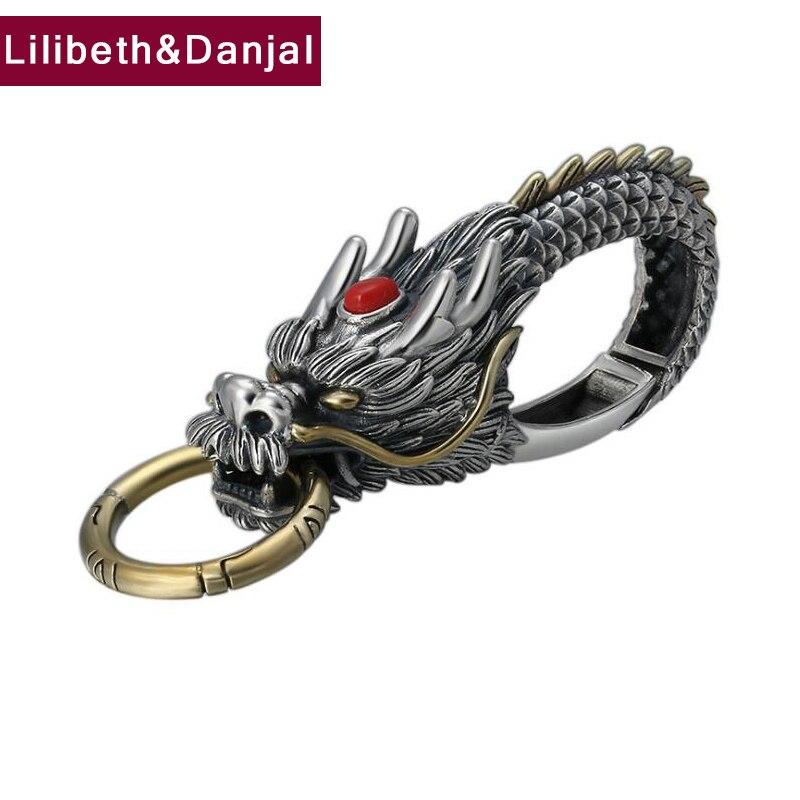 2019 nouveau multifonction pendentif 100% 925 bijoux en argent Sterling hommes voiture porte-clés Dragon mosaïque pierre collier pendentif bijoux P2