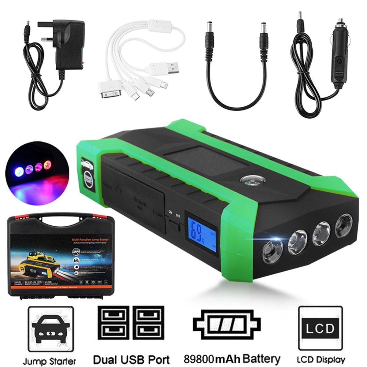 Полезная 89800 mAh 12 V 4USB Многофункциональный автомобиль Зарядное устройство Батарея скачок стартер светодиодный свет авто чрезвычайным Mobile Мо...