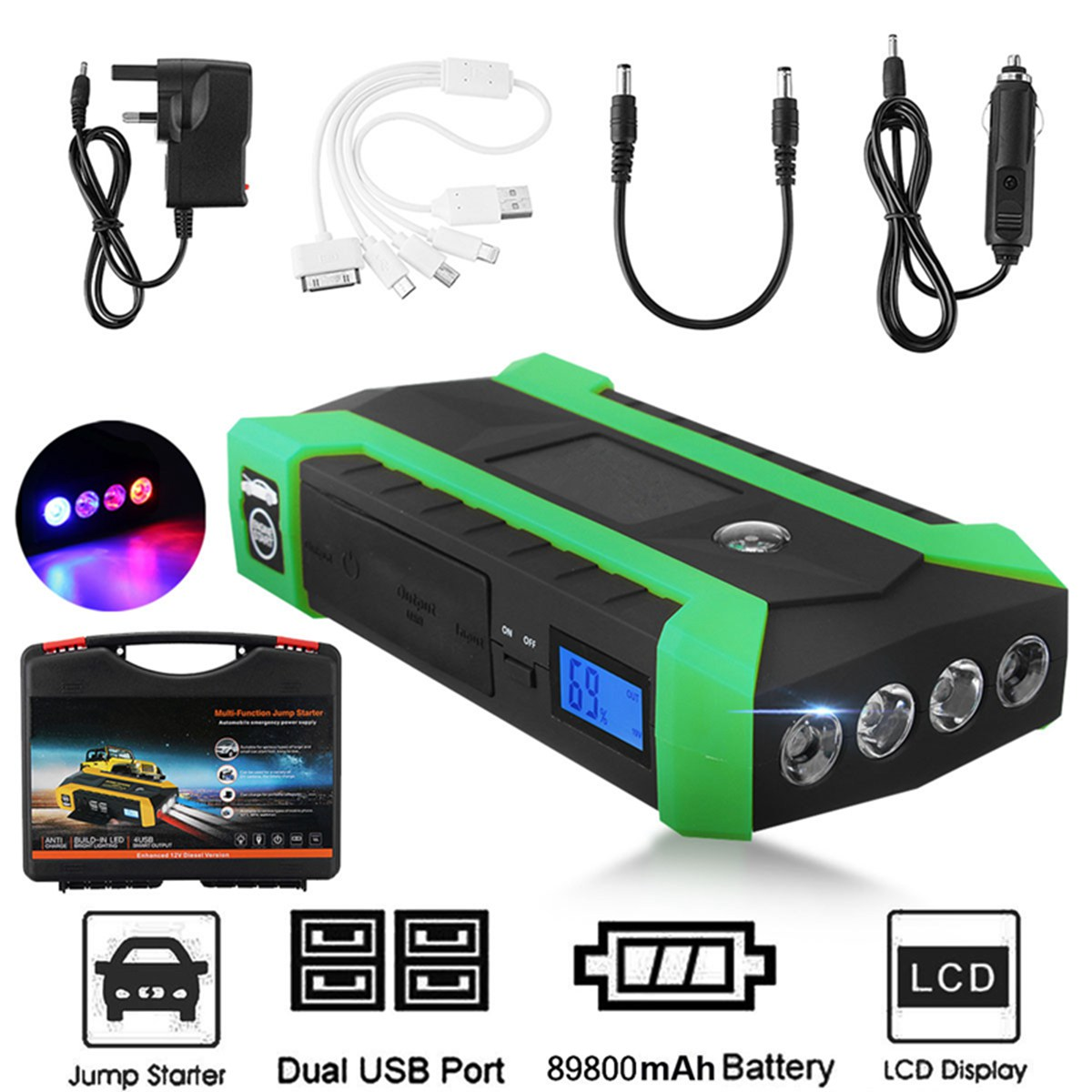 Useful 89800mAh 12V 4USB Multifunction Car Charger Battery Jump Starter LED Light Auto Emergency Mobile Power Bank Tool Kit 13500mah 12v multi function mobile power bank tablets notebook phone ca r auto eps starter emergency start power