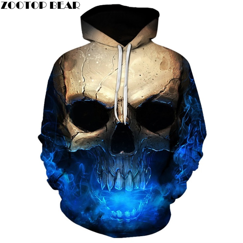 Skull Hoodies 3D Cool Hoodies Brand Sweatshirts Men Women Tracksuits Novelty Hooded Pullover Spring Male Jackets ZOOTOP BEAR