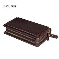 Vintage Luxury Clutch Bag Genuine Leather Men Wallets Large Capacity Male Double Zipper Purse Wallet Fashion