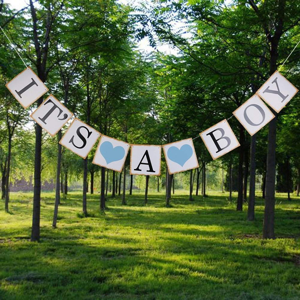 Baby garland ITS A BOY Paper garland Bunting Banner Baptism Baby shower Festoon Decoration Birthday Party Occasions Photo Prop