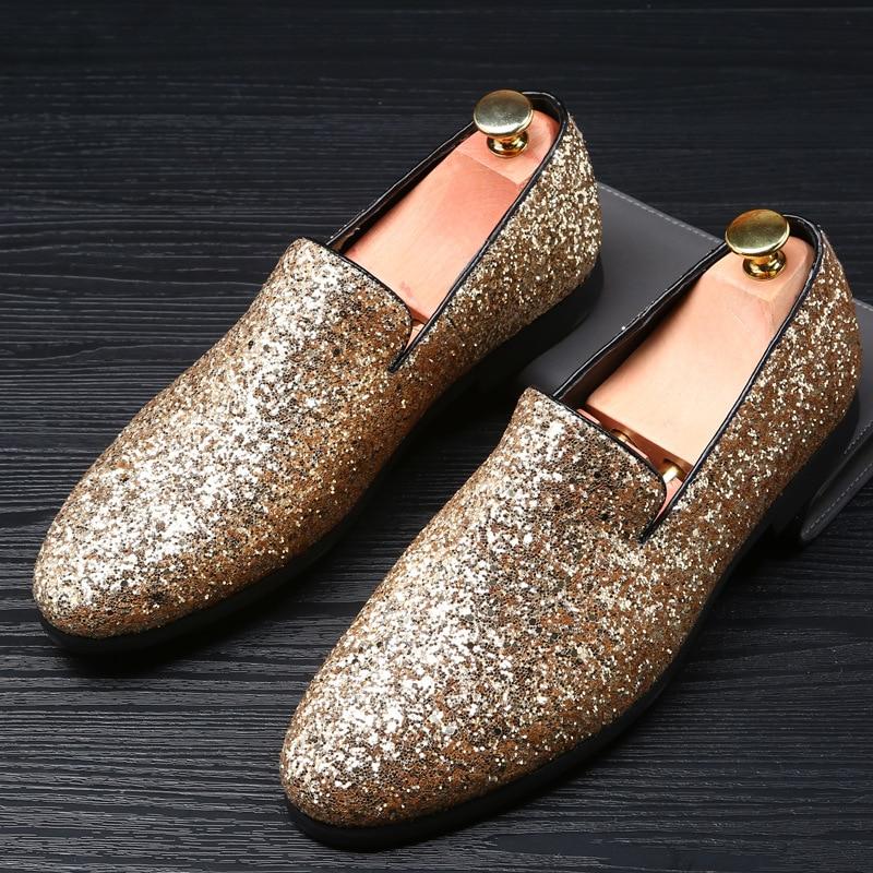 RUIDENG män fest skor för nattklubb sequined tyg guld svart Silver - Herrskor
