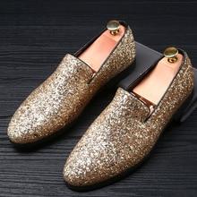 RUIDENG pria sepatu pesta untuk klub malam kain berpayet emas hitam Sepatu Perak busana Kasual merah bawah Ujung Runcing meluncur