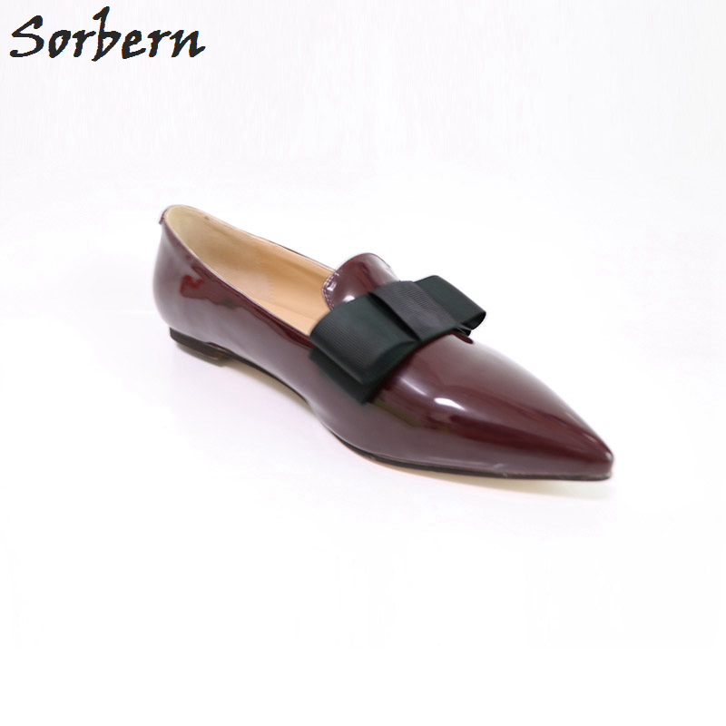 Sorbern Wine Red Shiny Women Flats Pointed Toe Custom Women Slip On Shoes Flat Shoes Women Designer Shoes Women Luxury 2018 new designer shoes women luxury 2018 butterfly knot flat shoes women fur mules pointed toe flats slip on shoes for women loafers