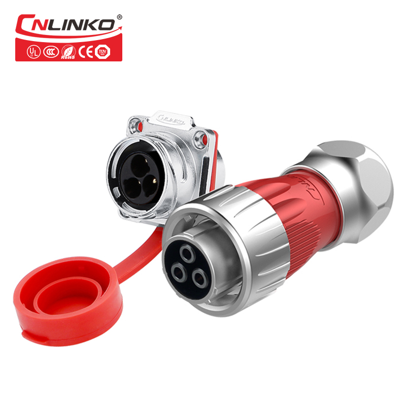 M24 3 Pin IP67 Waterproof Connector High Quality Metal 500V 25A Industry Plug and Socket Power Connector m24 3 pin industrial male female plug mount socket manufacturer provide ip67 power connector 3pin screw connector