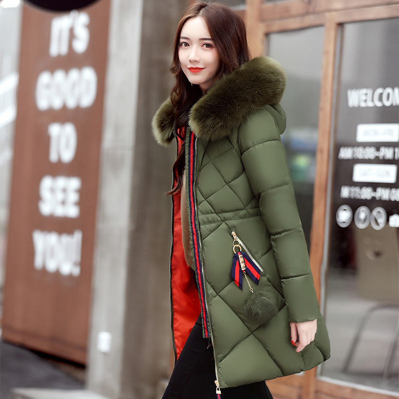 2017 women down jacket winter Coat womens slim Fit thicken long sleeve zipper coats Female Hooded faux Fur collar Overcoat Hot 100% white duck down women coat fashion solid hooded fox fur detachable collar winter coats elegant long down coats