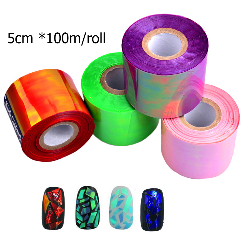 5cm*100m/Roll New Holographic Shiny Laser Nail Art Foils Paper Aurora Colors Glitter Glass Nail Sticker Decorations 2016 2016 new arrival 5cm 100m roll nail aurora stickers broken glass symphony paper nail glassine paper for 3d nail art decorations
