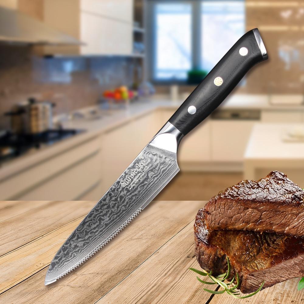 """Good Quality Kitchen Knives: Sunnecko 5"""" Inch Steak Knife Kitchen Knives Damascus VG10"""