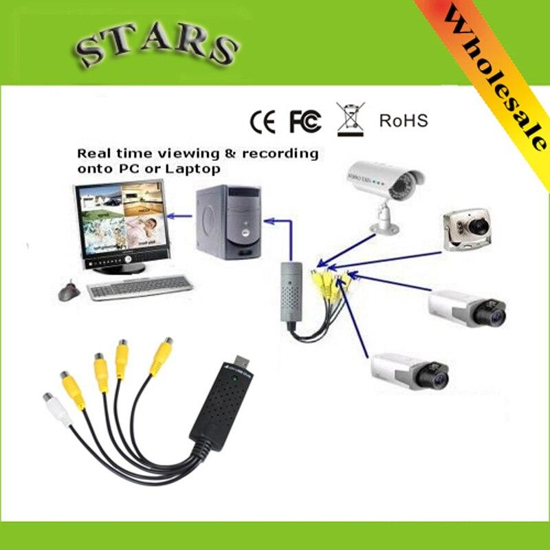 4 USB 2.0 canales en tiempo real de vídeo captura de tarjetas usb DVR Bordo de VHS a DVD adaptador de captura para sistema CCTV