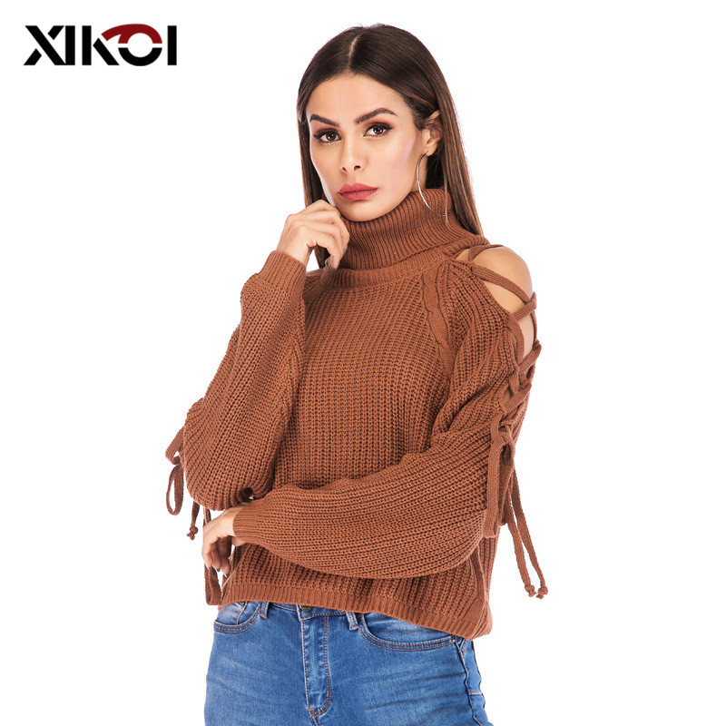 2019 Fashion Women's Turtleneck Sweater Sexy Off Shoulder Sweaters and Pullovers Women Casual Knitted Lace up Cropped Sweater
