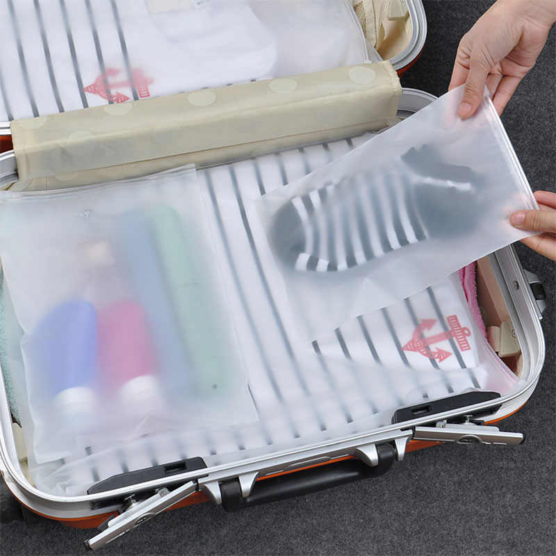 BalleenShiny 5 pçs/set Fosco Transparente Zip lock Saco De Armazenamento Bolsa De Viagem Cosméticos À Prova D' Água Saco de Sapatos de Roupas Organizador