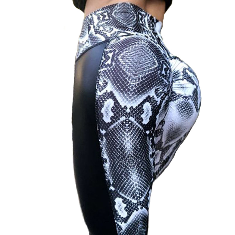 NORMOV Fashion PU Patchwork Fitness Leggings Women Hip Push Up High Waist Slim Fit Leggings Snake Skin Printing Workout Leggings