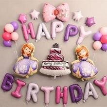 ba97dc1ff 1 set 16 pulgadas Feliz Cumpleaños de Kitty Princesa Sofía Globos de papel  de aluminio diamante