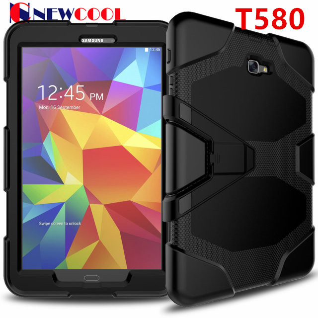 Amor Heavy Duty case For Samsung Galaxy Tab A 10.1 2016 T585 T580 Tablet case GLF Soft Silicone +PC Back Cover Kickstand Case