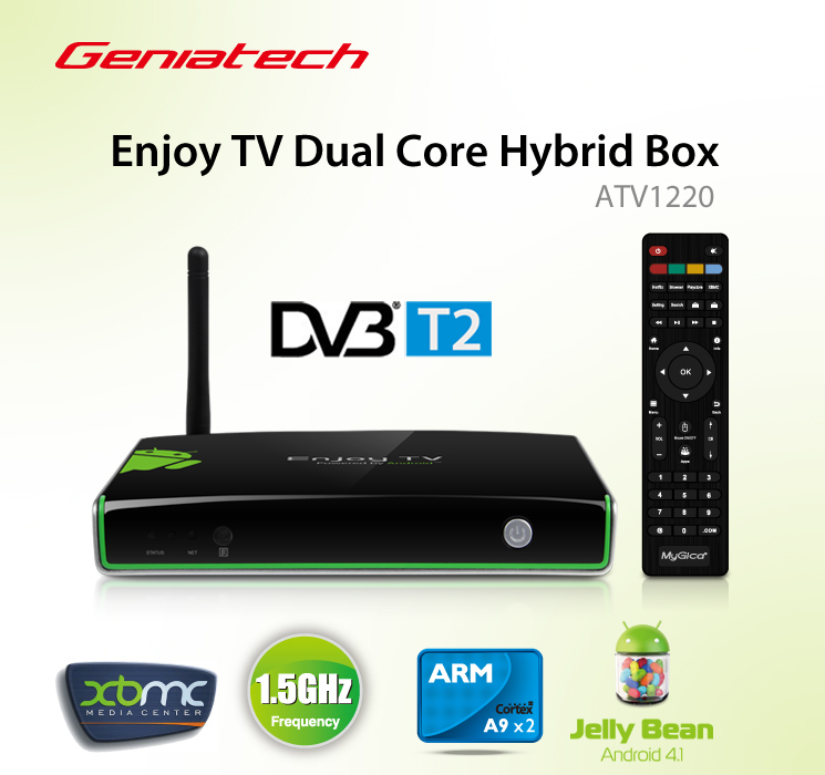 geniatech mygica atv1220t2 enjoy android tv box built in dvb t2 dvb t tv tuner dual core amlogic. Black Bedroom Furniture Sets. Home Design Ideas