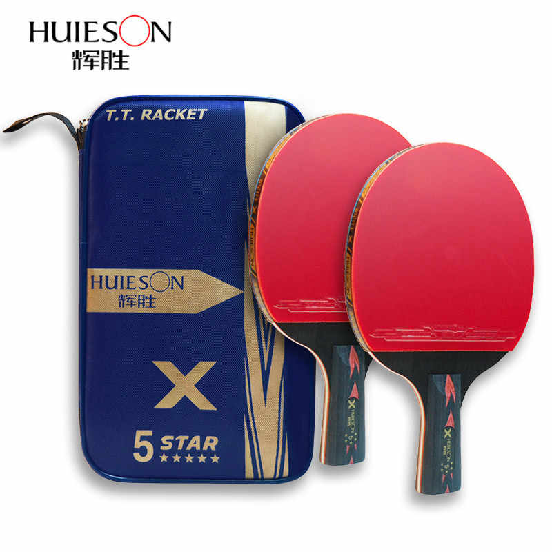 2Pcs/Set Huieson 5 Star Carbon Table Tennis Racket Powerful Ping Pong Paddle Bat with Good Control for Teenagers Training