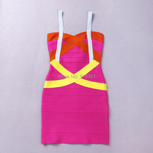 100% Rayon Criss-Cross Patchwork Pink Cocktail Party Dress