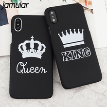 JAMULAR For iPhone X 8 7 6S Plus Case Lovers Crown Matte Hard PC Case Back Cover For iphone 6 6s Letter KING QUEEN Capinha Coque
