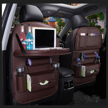 Bag Universal Auto Multi-pocket  PU Leather Table Tray Travel Storage Foldable Shelf Dining Car Seat Pad