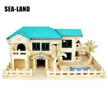 Kids Toys Wooden 3D Puzzle For Children Villa At Beach Montessori Educationaly Diy Toy Challenge Wisdom A Gift Or Adult