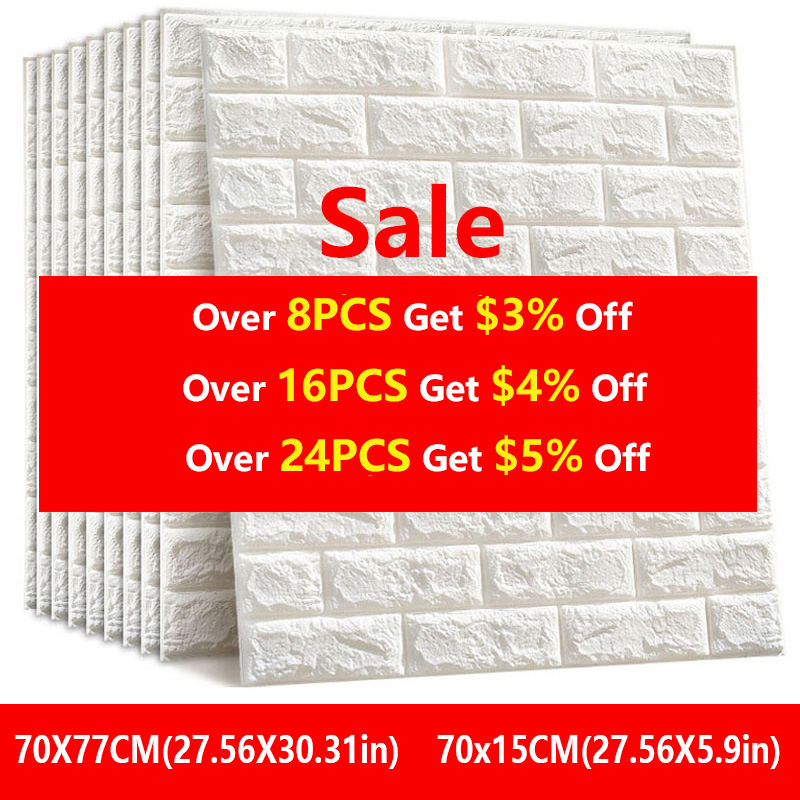 3D Wall Stickers Imitation Brick Bedroom Decor Waterproof Self-adhesive Wallpaper For Living Room Kitchen TV Backdrop Decor70*77(China)