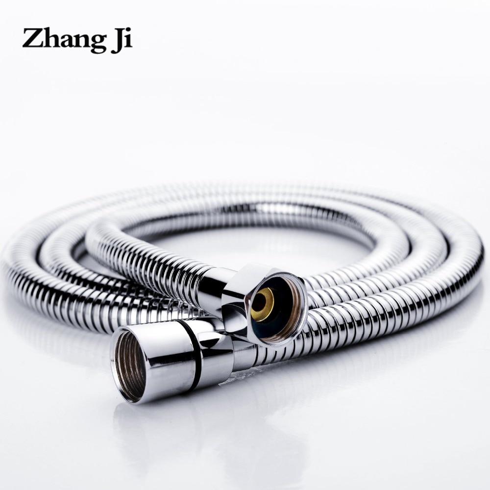 ZhangJi Edelstahl 1,5 m Dusche Schlauch Weiche Dusche Rohr Flexible Bad Wasser Rohr Silber Farbe Gemeinsame Sanitär Schläuche