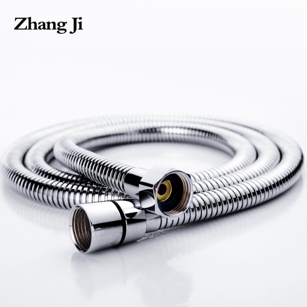 Купить со скидкой ZhangJi Stainless Steel 1.5m 2m Shower Hose 2019 Hot sale Soft Shower Pipe Silver Color Common Flexi