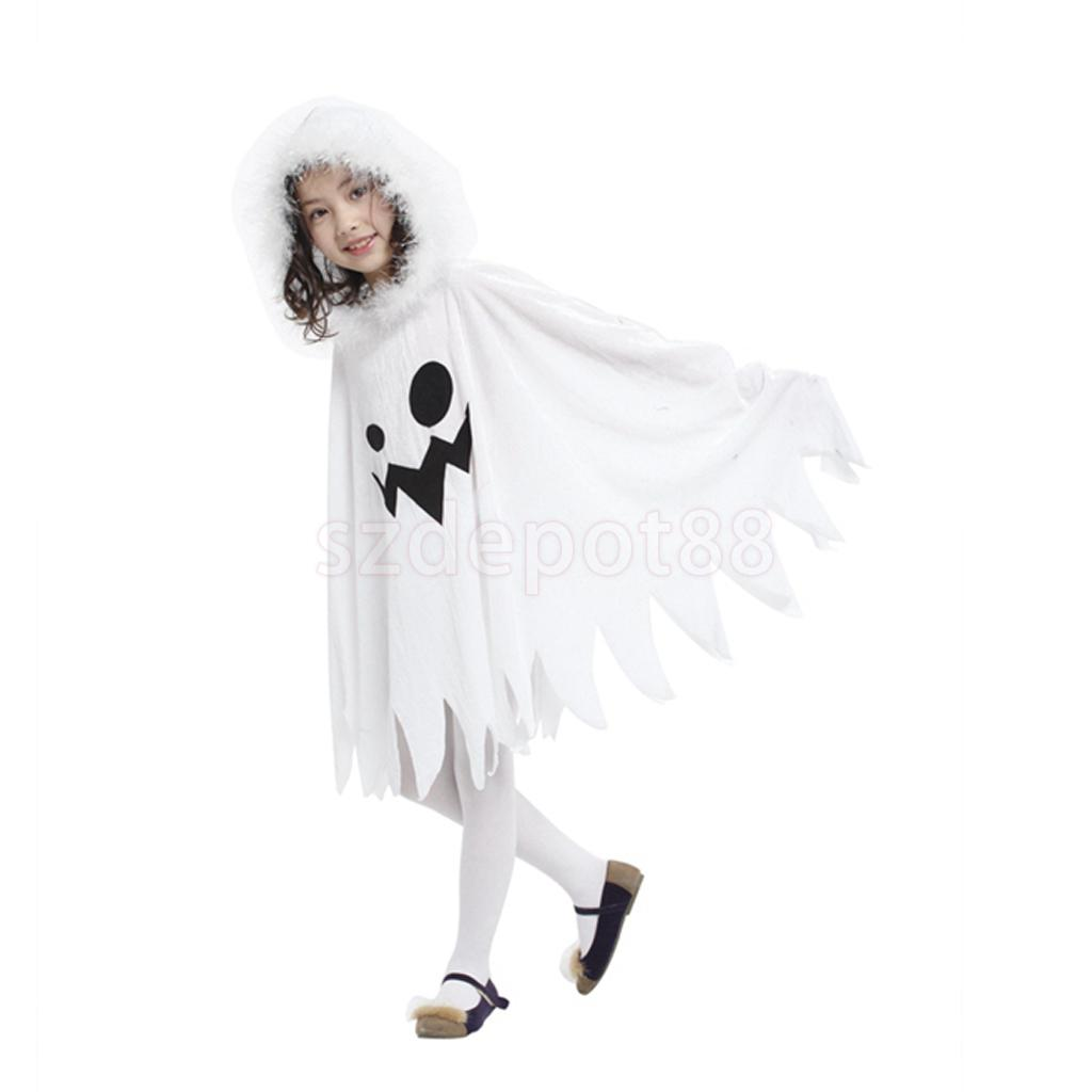 kids white ghost halloween cloak costume child elf cape halloween cosplay