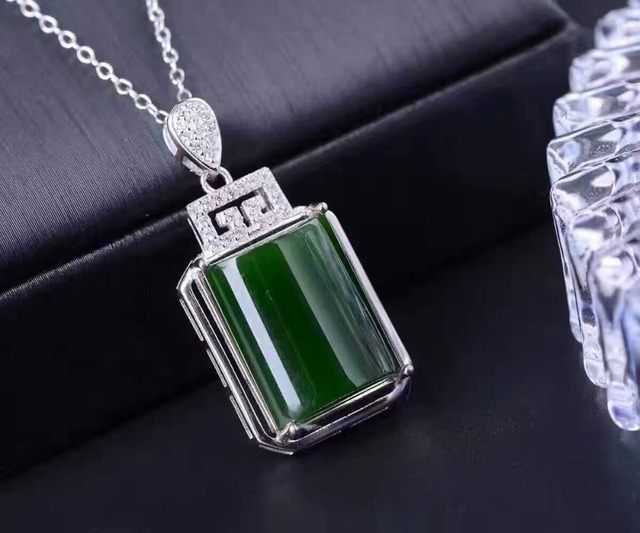 Super Luxurious jade pendant 12*18mm 15ct natural green jade necklace pendant Chinese style solid 925 silver gemstone pendant