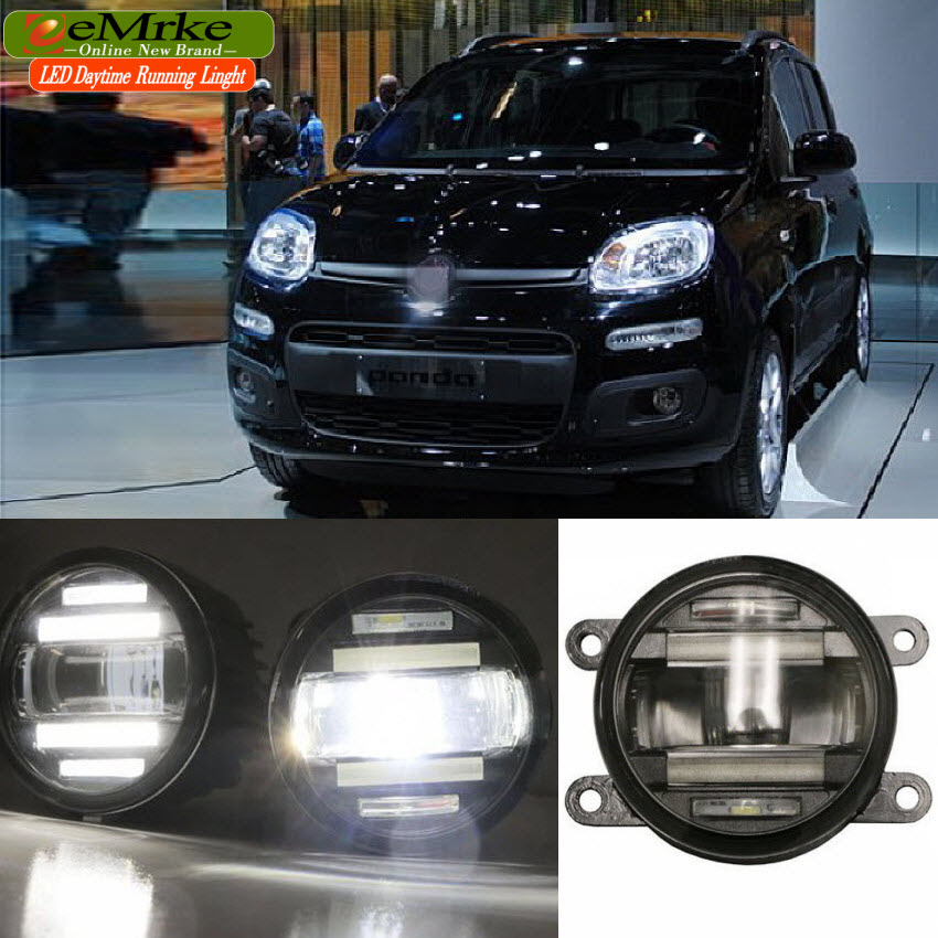 eeMrke Car Styling For Fiat Panda 2012 2013 2 in 1 LED Fog Light Lamp DRL With Lens Daytime Running Lights eemrke car styling for opel zafira opc 2005 2011 2 in 1 led fog light lamp drl with lens daytime running lights