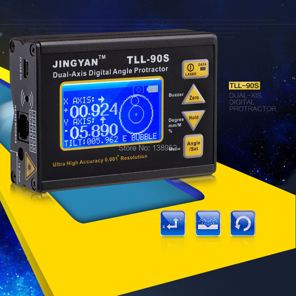 LCD Display TLL-90S High 0.005 Precision Laser Level Angle Meter Dual Axis