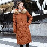 JKKUCOCO Newest Warm Long Cotton Jacket Thick Collect waist Women Winter Jacket Big Fur Collar Hooded Winter Coat Women Parkas