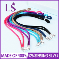 LSLuxury 100 925 Sterling Silver Colored FABRIC CORD Bracelets Fit Original Beads Charm Women Fashion Jewelry