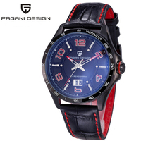 PAGANI DESIGN Mens Watches Top Brand Luxury Watch For Men Waterproof 30M Black Leather Business Auto Date Clock Hours Dress 2019