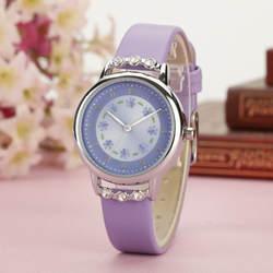 Модные детские часы со стразами и цветком из искусственной кожи на ремешке детские наручные часы студенческие Мультяшные кварцевые часы