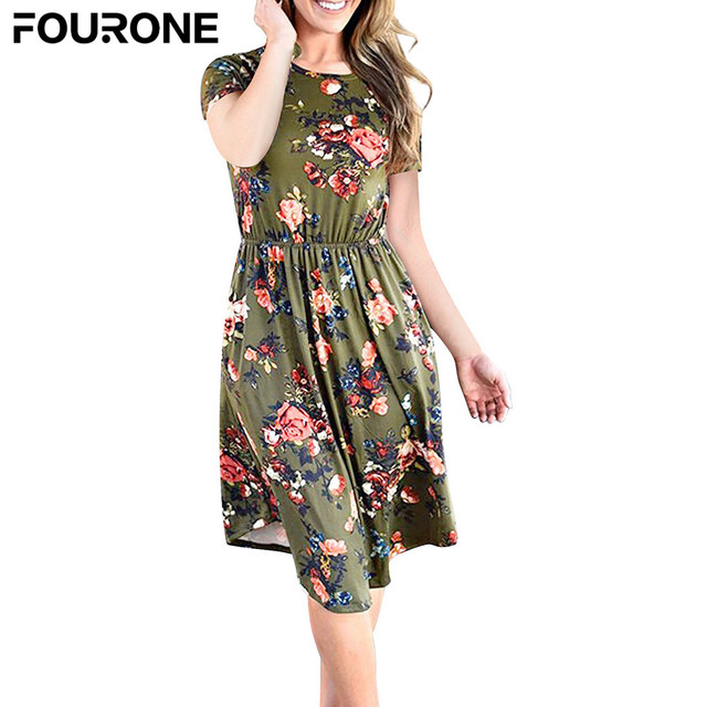 d50f1395e0d03 Women Girls Summer Sexy Floral Print Beach Dress Short Sleeve Crew Round  Neck Casual Dress-in Dresses from Women's Clothing & Accessories on ...
