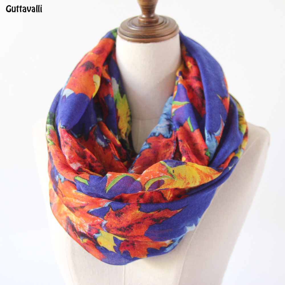 Guttavalli Women Colorful Maple Leaves Ring Shawl Vintage Viscose Chevron Loop Scarf Soft Spring Winter Flowers Infinity Scarves