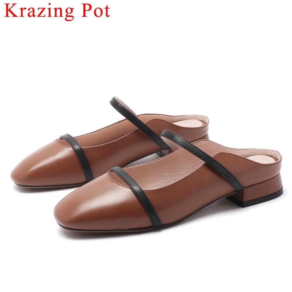 Krazing 냄비 영국 스타일 정품 가죽 혼합 색상 슬립 뮬 광장 발가락 낮은 발 뒤꿈치 comofortable 여성 펌프 복고풍 신발 l32-에서여성용 펌프부터 신발 의  그룹 1