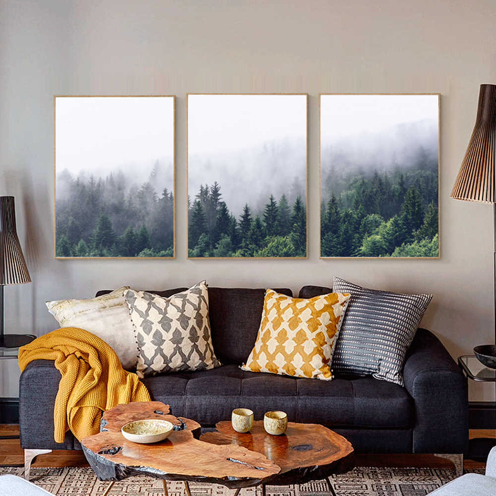 Nordic Forest Landscape Poster Wall Art Print Watercolor Abstract Mountain Fog Pictures Living Room Canvas Painting Home Decor