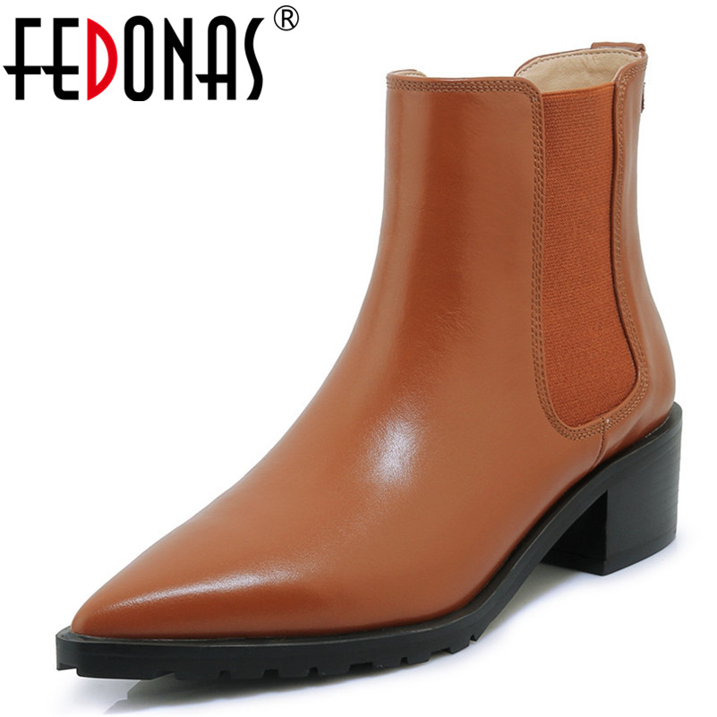 FEDONAS Fashion Brand Women Ankle Boots Thick High Heels Pointed Toe Night Club Shoes Woman Ladies Office Pumps New Basic BootsFEDONAS Fashion Brand Women Ankle Boots Thick High Heels Pointed Toe Night Club Shoes Woman Ladies Office Pumps New Basic Boots