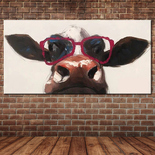 Favorite Cow Wear Red Sunglasses Oil Painting Textured Modern Abstract  UD25