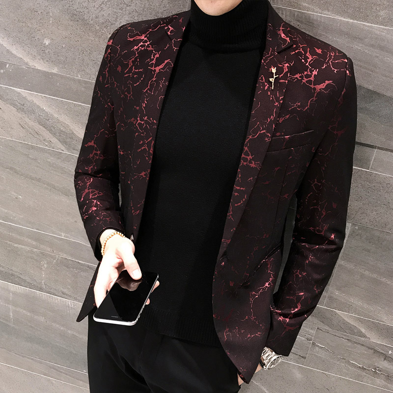 Slim Bleiser Masculino 2019 Spring Casual Fit Floral Suit Mens Flower Blazer Party Dress Outfit Pantalon Trendy Blaser Masculino