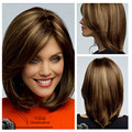 Brown Synthetic Lace Front Wig Glueless Silk Straight Ombre Tone Color Black/brown Medium Bob Heat Resistant Hair Wigs For Women