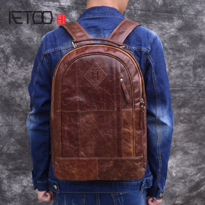AETOO Original oil wax leather shoulder bag mens bag top layer leather retro backpack leather bag computer bagAETOO Original oil wax leather shoulder bag mens bag top layer leather retro backpack leather bag computer bag